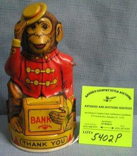Early All Tin Chein Monkey Mechanical Bank