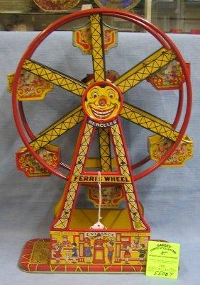 Early All Tin Windup Mechanical Ferris Wheel Toy