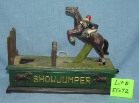 Hand Painted Cast Iron Show Jumper Mechanical Bank
