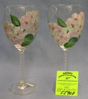 Pair Of Hand Painted Floral Design Stemware Wine