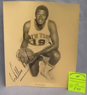 Early Willis Reed Autographed Basketball Photo