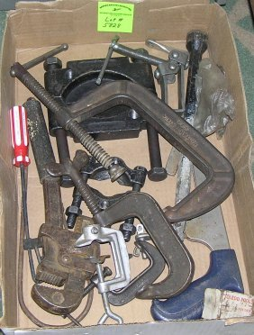 Box Of Heavy Duty C-clamps, Wrenches And More