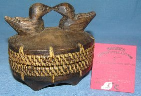 Hand Carved Wooden And Woven Duck Basket