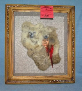 Southwest Indian And Wolves Framed Diorama