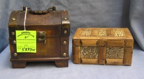 Pair Of Wooden/trinket/jewelry Boxes