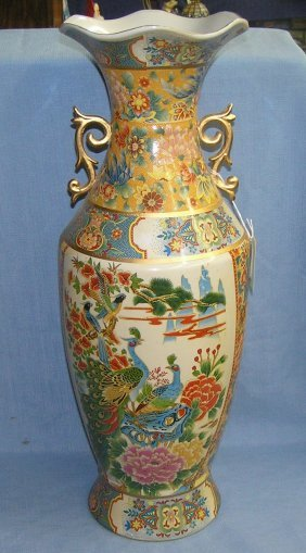 "Large 23"" Peacock Decorated Oriental Vase"
