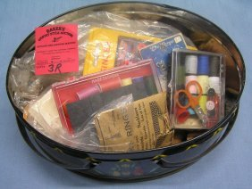 Antique Sewing Tin Full Of Sewing Accessories
