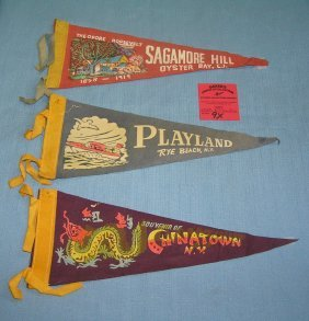 Group Of 3 Early Souvenir Pennants
