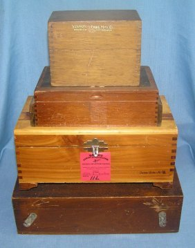 Group Of Four Antique Wood Boxes