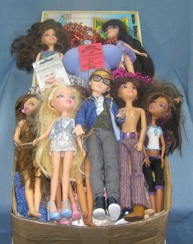 Box Full Of Collectible Dolls And Toys