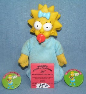 Maggie Simpson Doll And Bart Pin Back Buttons