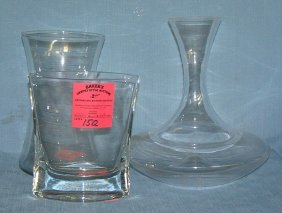 Group Of 3 Quality Crystal And Glass Vases