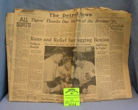 Wwii Newspaper With Detroit Tigers Headlines