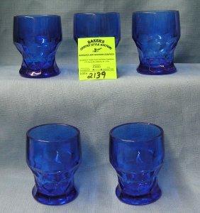 Vintage Cobalt Blue Drinking Glass Set