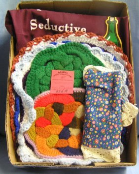 Two Aprons And Five Knitted Dollies