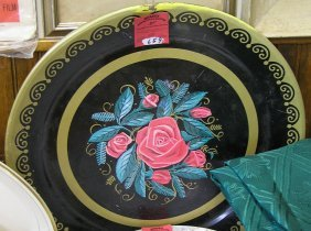 Pair Of Floral Decorated Tin Ware Serving Trays