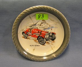 Early Alpha Romeo Race Car Advertising Dish