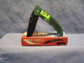Green Zeppelin Folding Pocket Knife W/ Org. Box