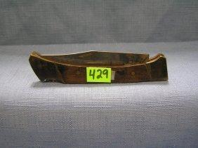 Vintage Wooden Brass Pocket Knife