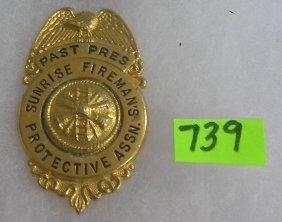 Vintage Sunrise Fireman Protective Badge