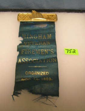 Antique Fire Department Pin And Ribbon Set