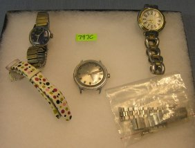 Group Of Vintage Wrist Watches And Bands