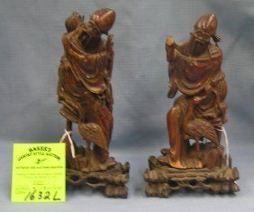 Pair Of Hand Carved Oriental Wiseman Figures