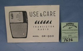 Vintage Global Transistor Radio Booklet