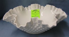 Fenton Milk Glass Hobnailed Patterned Fruit Bowl