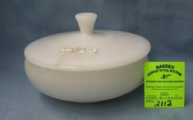 Vintage Milk Glass Fire King Style Serving Bowl
