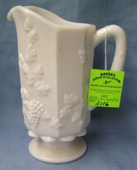 Great Early Grape Decorated Milk Glass Pitcher