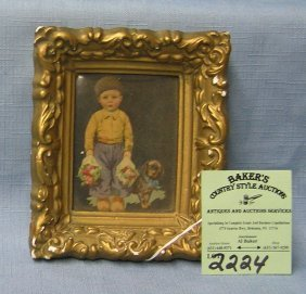 Early Miniature Dutch Print In Gold Frame