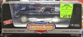 Vintage All Cast Metal 1963 Corvette Stingray In Black