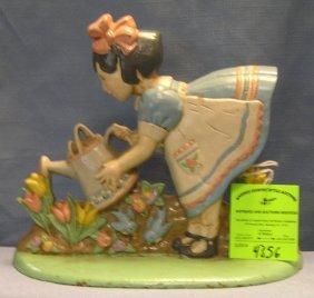 Hand Painted Cast Iron Girl Watering Flowers Door Stop