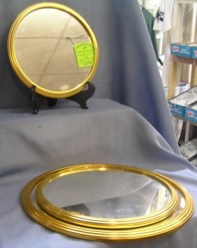 Group Of Three Gold Framed Vanity Framed Mirrors