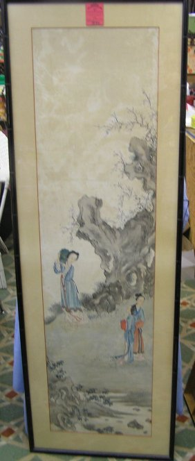 Large Matted And Framed Oriental Water Color Painting