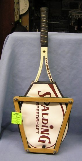 Vintage Spalding Tennis Racket With Holder