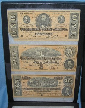 Civil War Style Confederate Currency Notes