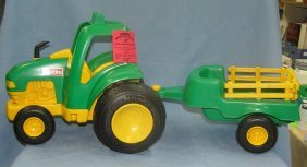 Tonka John Deere Style Farm Tractor And Trailer
