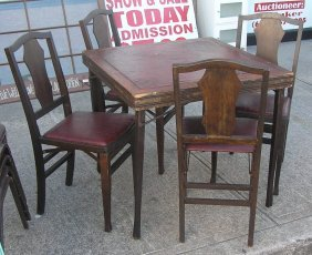 Antique Card Table With Set Of 4 Matching Chairs