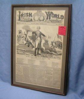 Early Irish World Framed Newspaper Dated 1875
