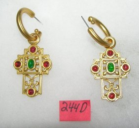Elizabeth Taylor Maltese Cross Earring Set
