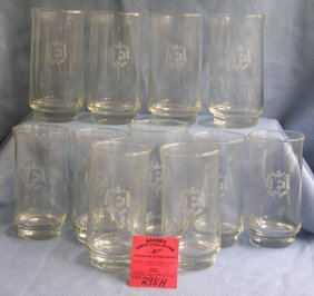Box Full Of Vintage Etched Drinking Glasses
