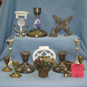 Group Of Vintage Candle Holders And More
