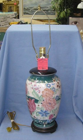 Floral Decorated Porcelain Table Lamp