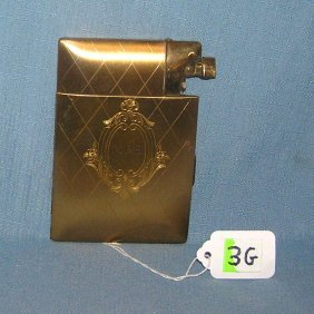 Elgin Gold Toned Cigarette Case And Lighter
