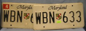 Pair Of Vintage Maryland License Plates