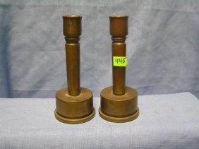 Wwii Solid Brass Trench Art Candle Sticks