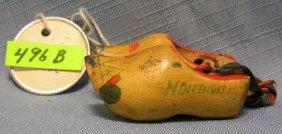Pair Of Antique Miniature Wooden Dutch Shoes