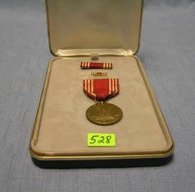 Original Wwii Good Conduct Medal And Ribbons